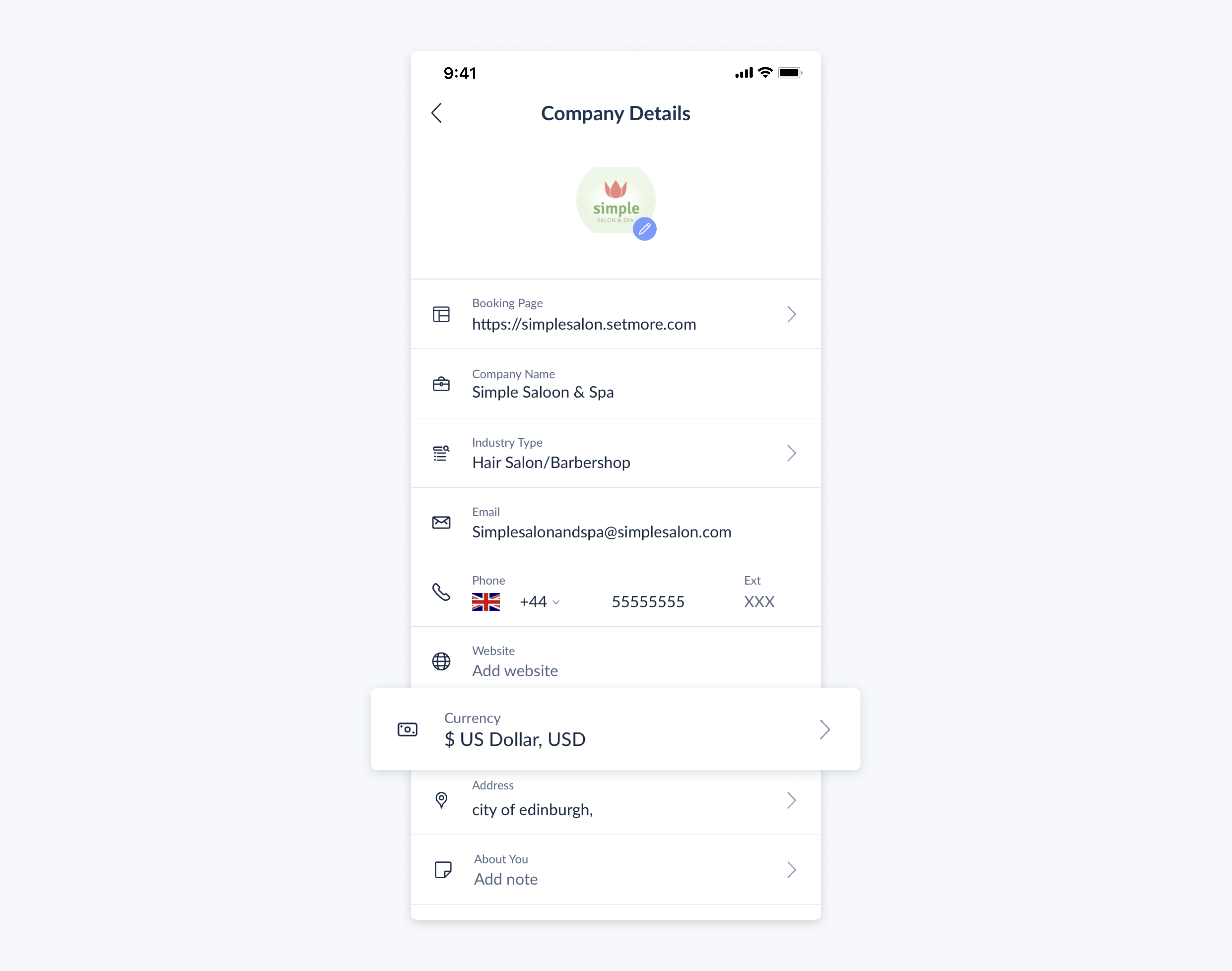 setmore mobile app company details menu