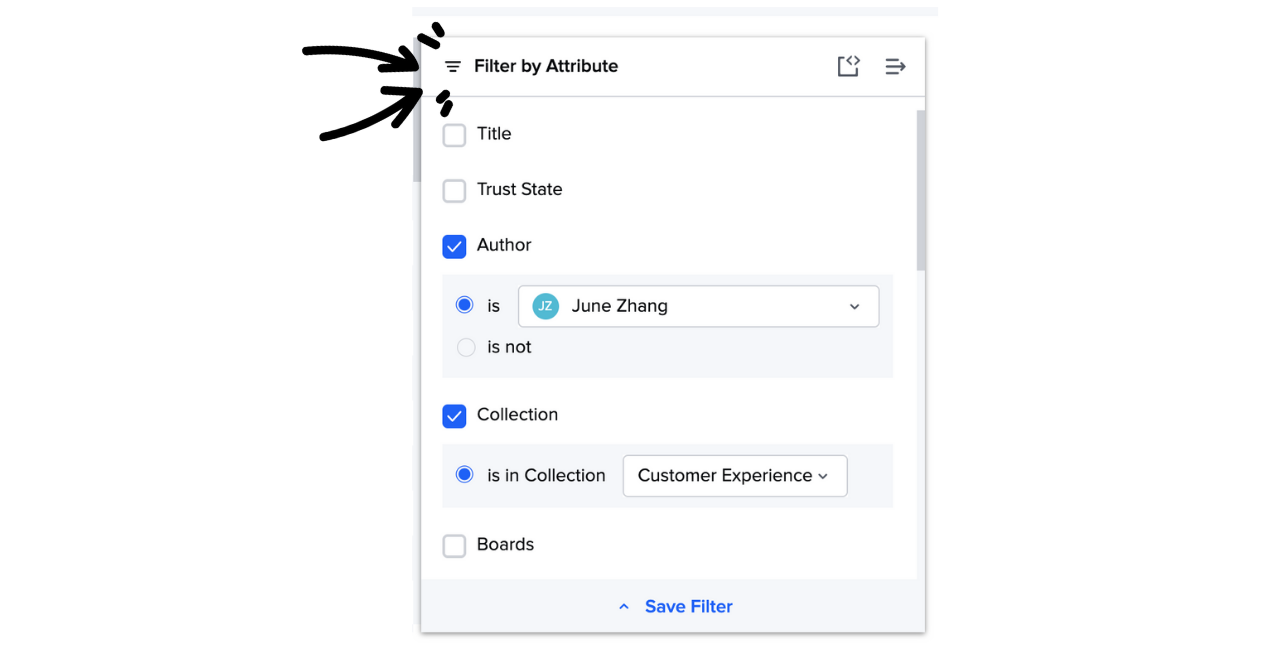 Filter by attribute in the Card Manager