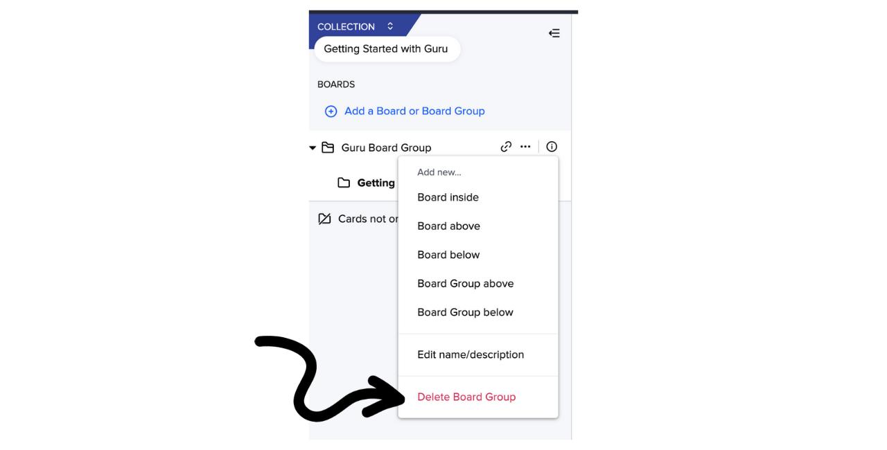 Delete Board Group in Guru