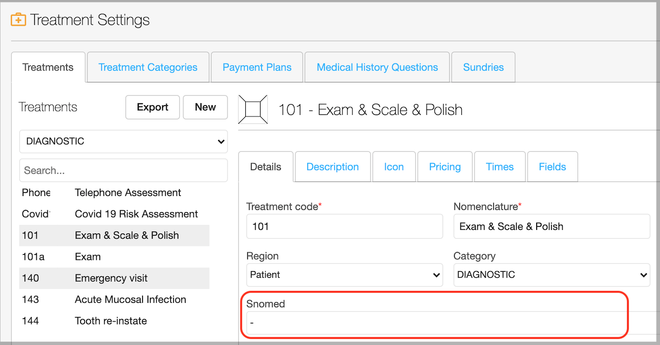 Dentally Add SNOMED code - treatment items