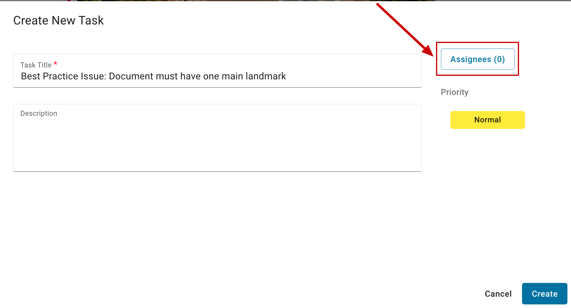 With the Create New Task dialog box open, the Assignees button is highlighted in red.