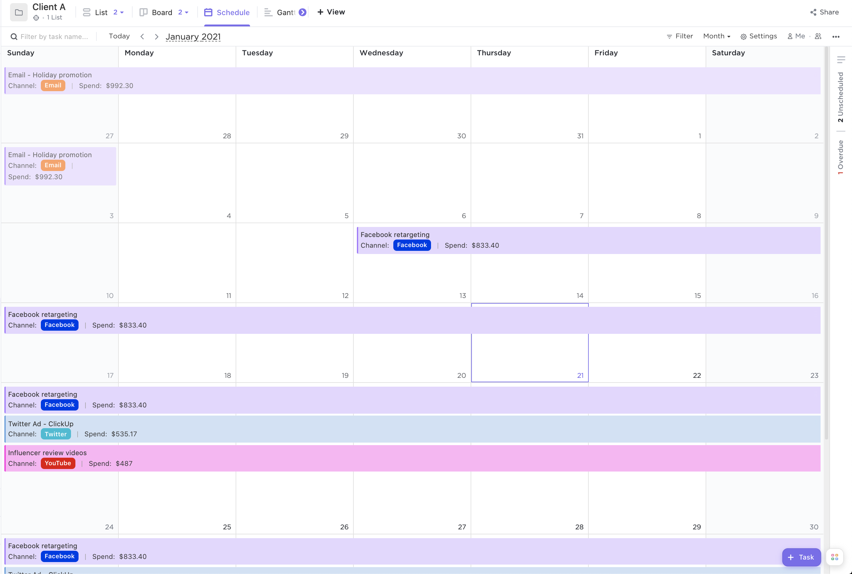 Screenshot of Calendar view by month