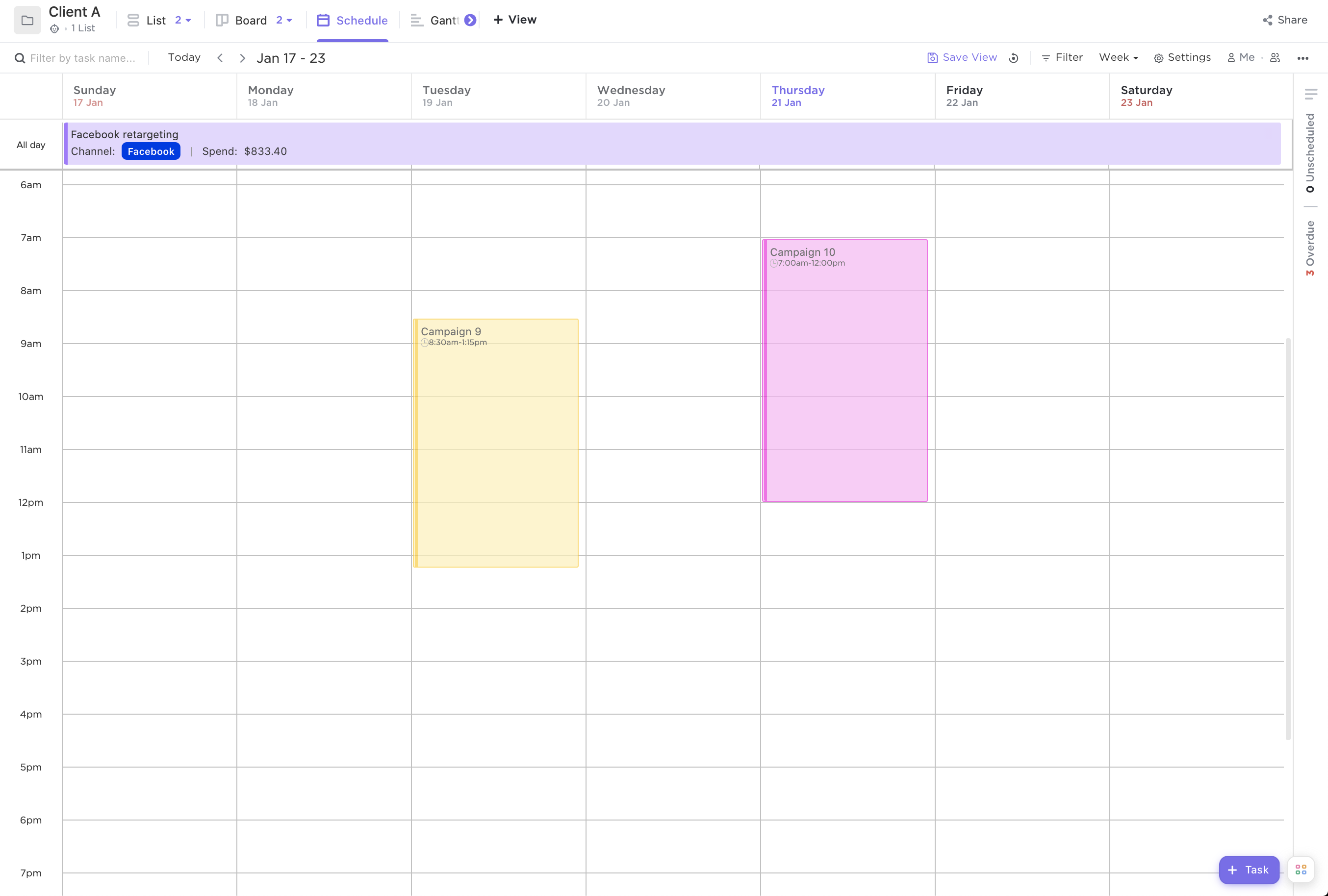 Screenshot of Calendar view by week