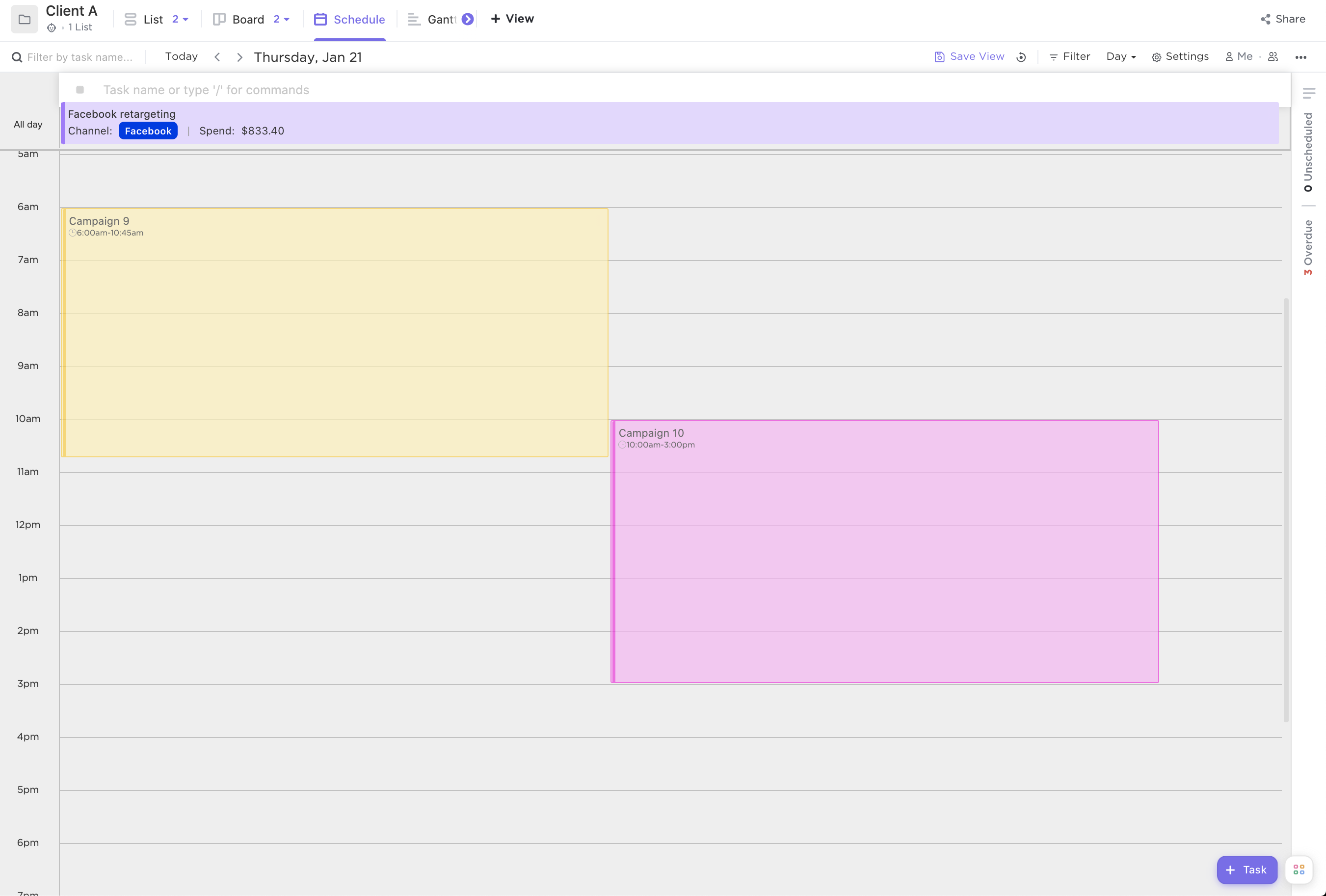 Screenshot of Calendar view by day