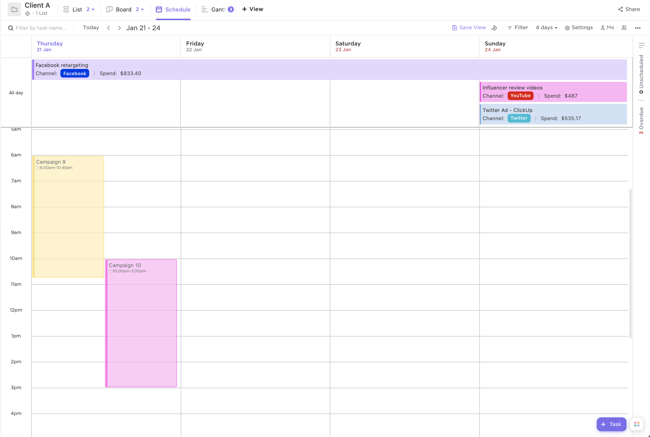Screenshot of Calendar view by rolling 4-day