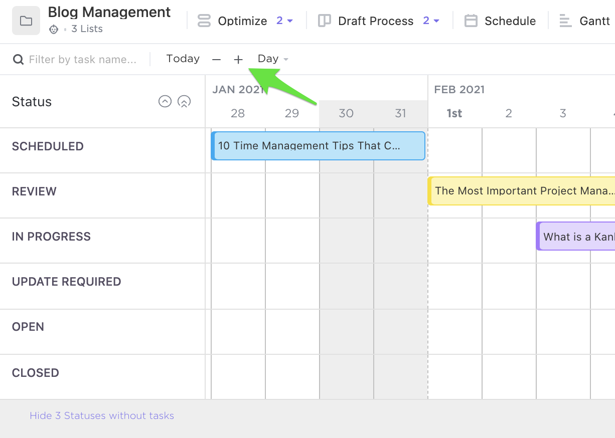 Screenshot of Timeline view by day