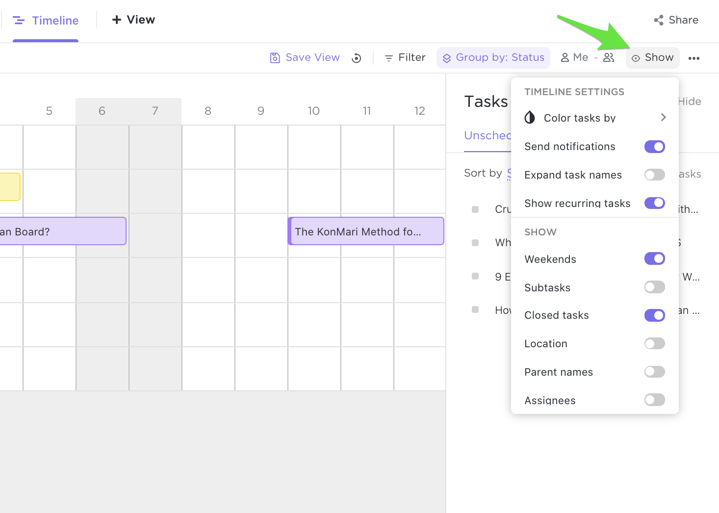 Screenshot of options available to customize the Timeline view
