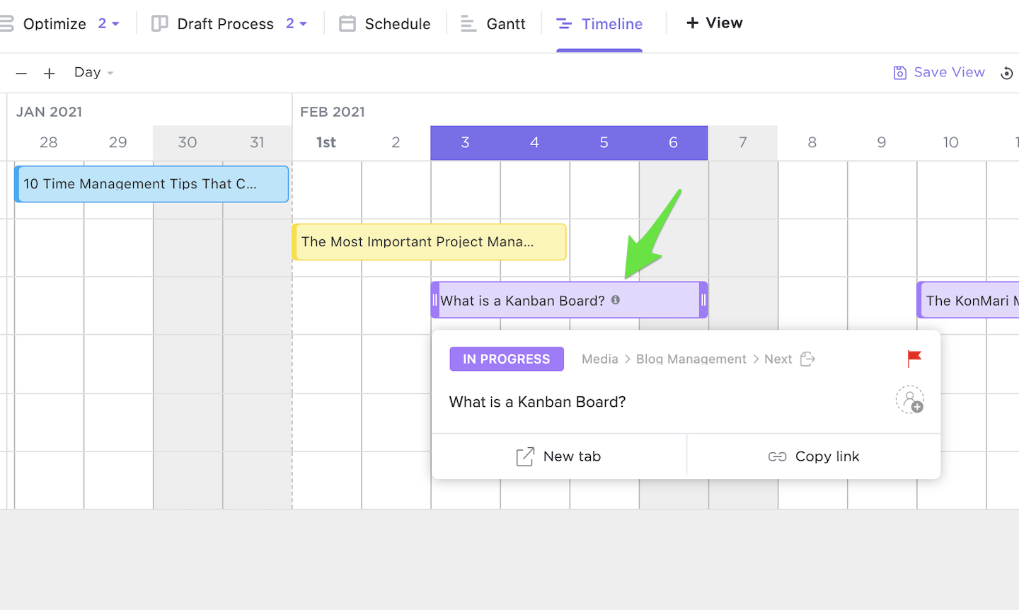 Screenshot of additional information displayed by hovering over the i in a task in Timeline view