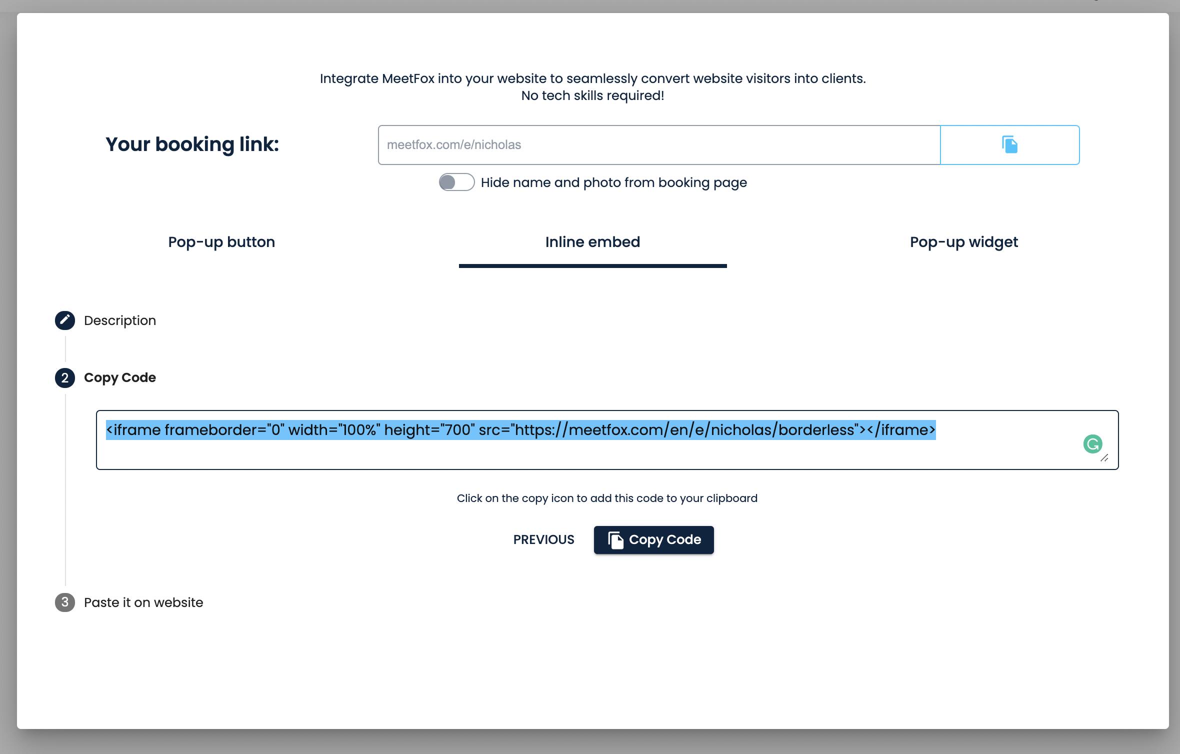 HTML code to embed MeetFox on website