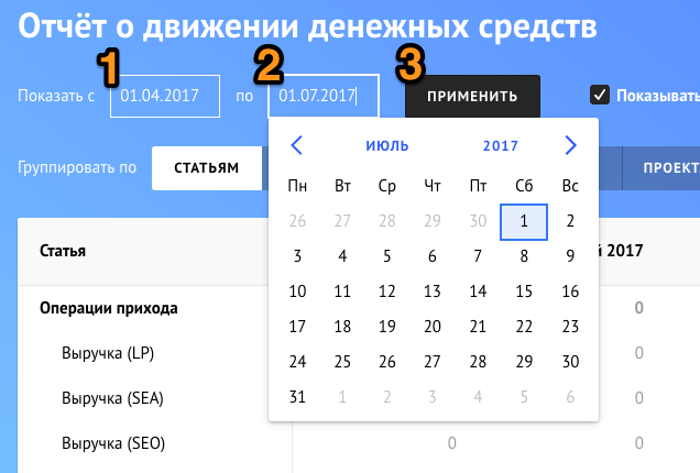 диапозон дат ОДДС