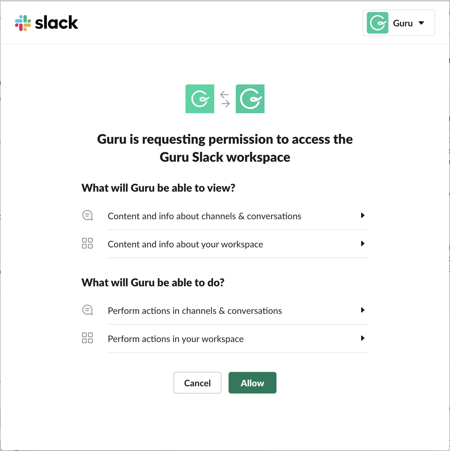 Updating Guru's Slack App to latest version