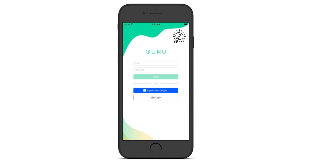 Logging into Guru's Mobile App