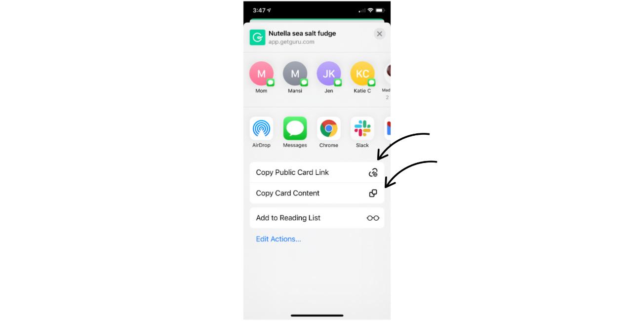 Copying Cards via Mobile App