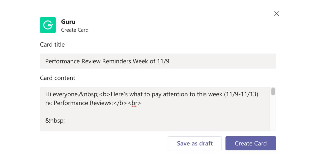Create a Card in Microsoft Teams Step 2
