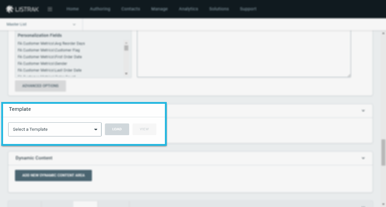 Template Panel in Email Authoring Page