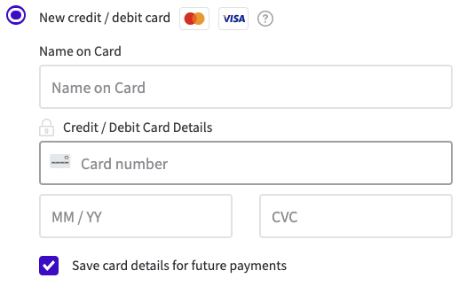 Screenshot of Teammo payment form where you can save your card details