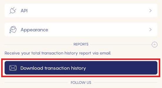 Cliquez sur Download transaction history