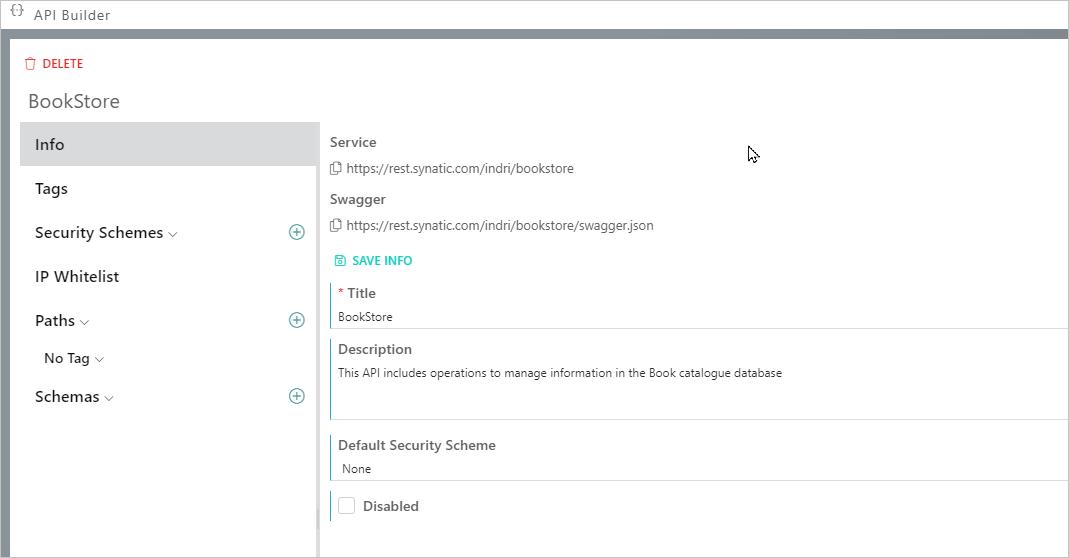 Synatic - API Info tab