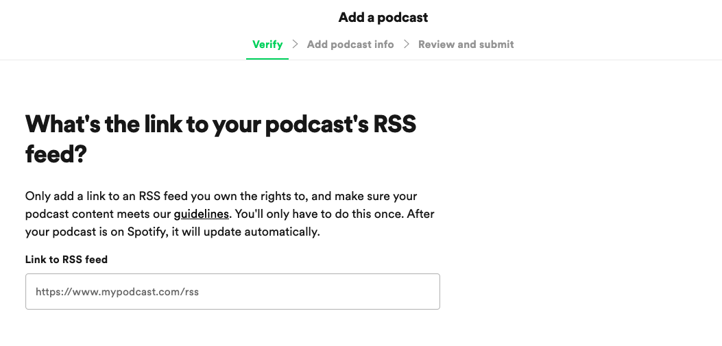 Claiming spotify podcast through RSS