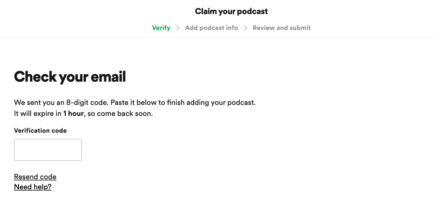 verification when claiming podcast
