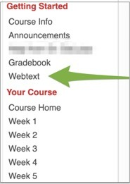 Screenshot of the course home page  with an arrow pointing to the Webtext menu option in the left column.