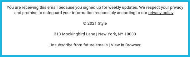 Example of Custom Unsubscribe Link in Footer of Email