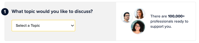 Screenshot: What topic would you like to discuss question from