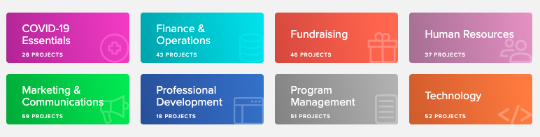 Image screenshot: 8 categories of project types.