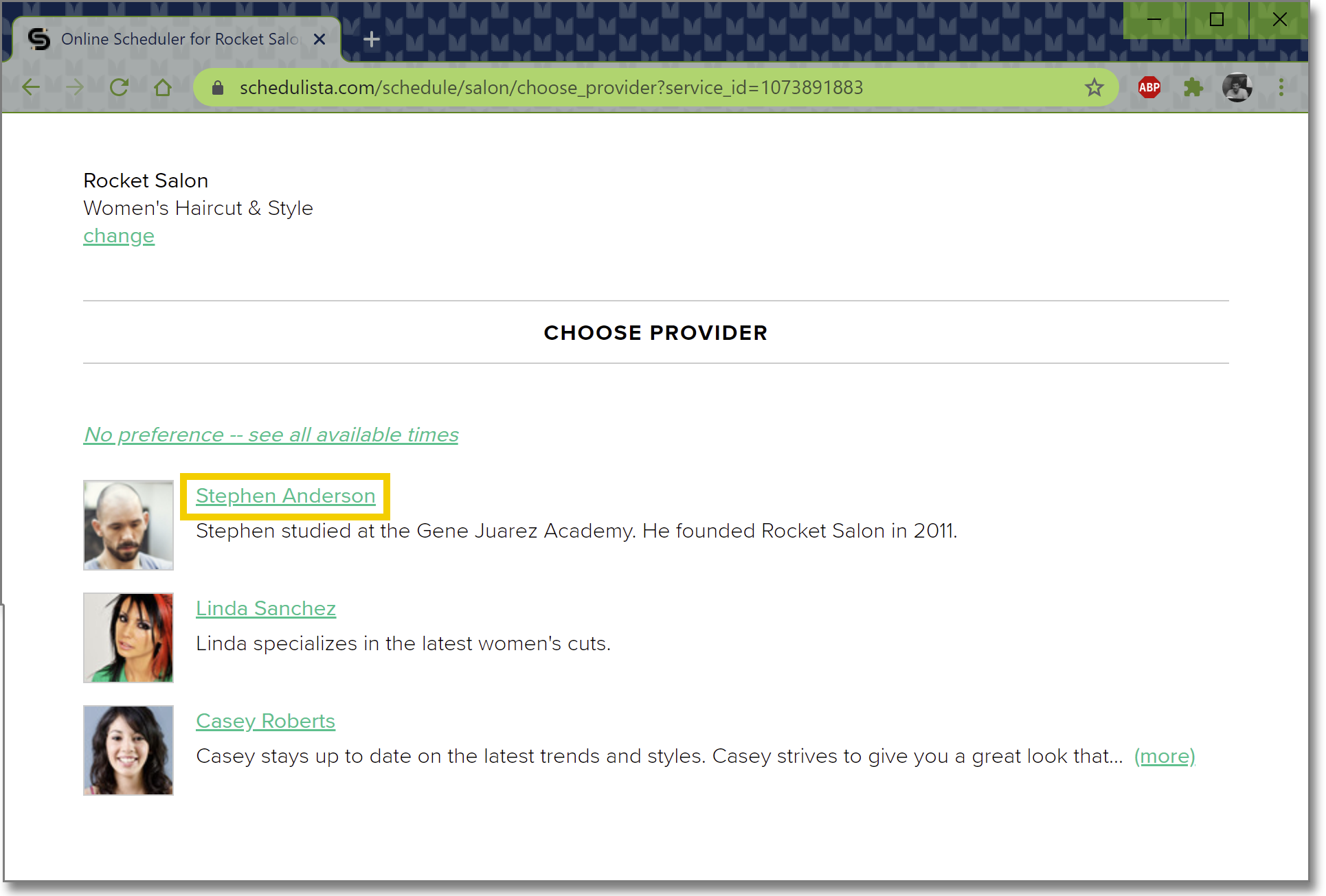 Image shows selecting a provider for a service on the Schedulista scheduling page