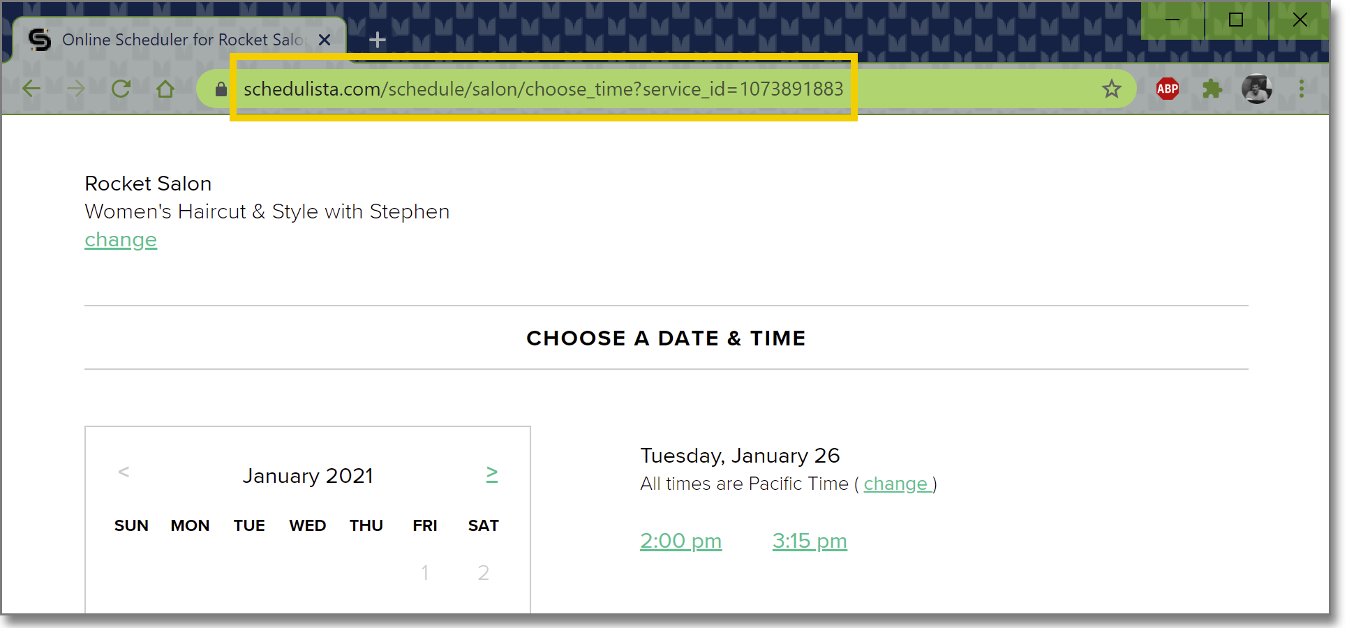 Images highlights the URL for a specific service on the Schedulista scheduling page in the web address bar of a browser