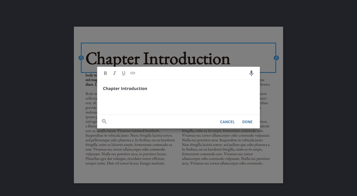 Editing text in a template