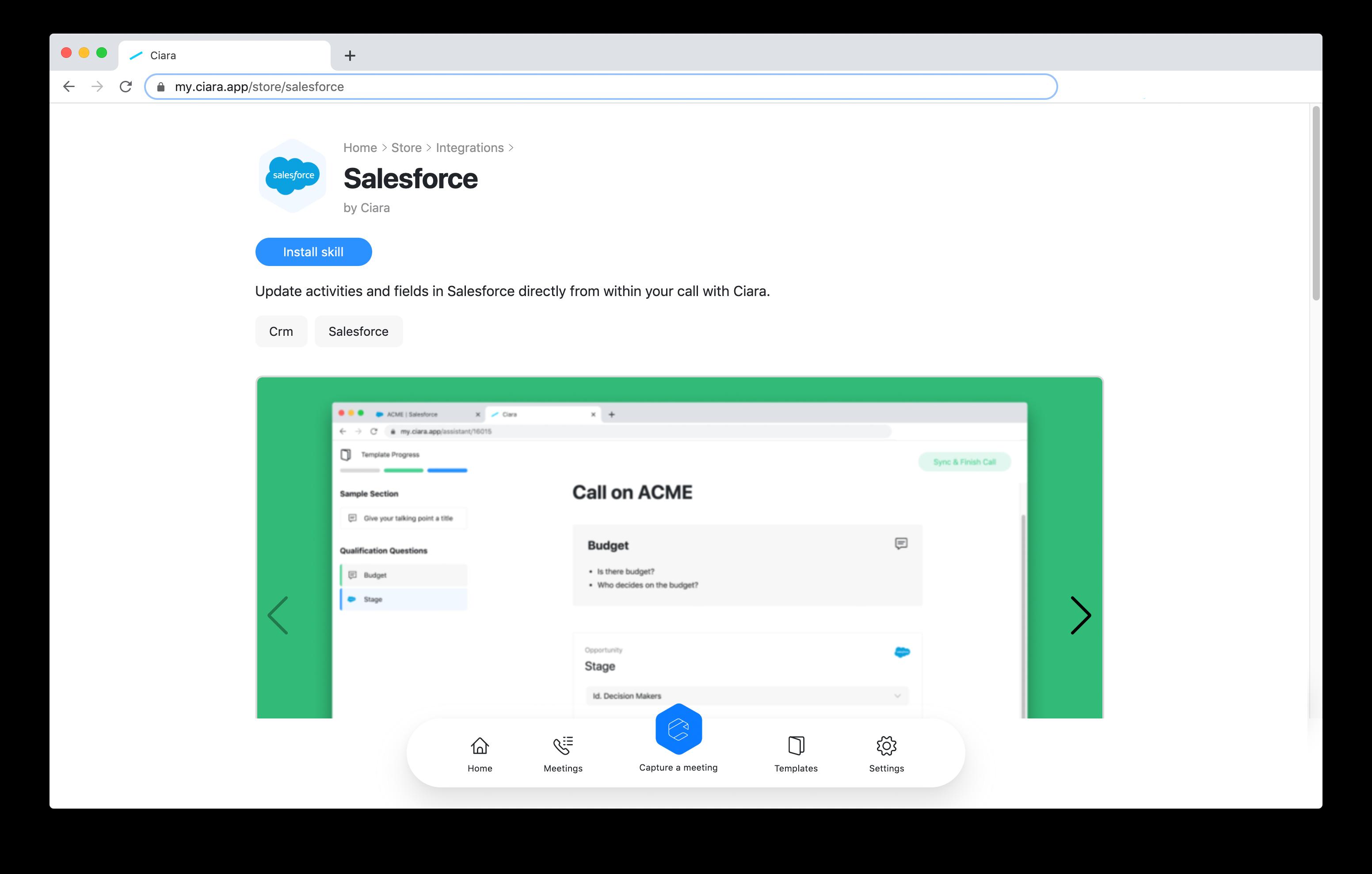 Ciara Skill Store - Install Salesforce