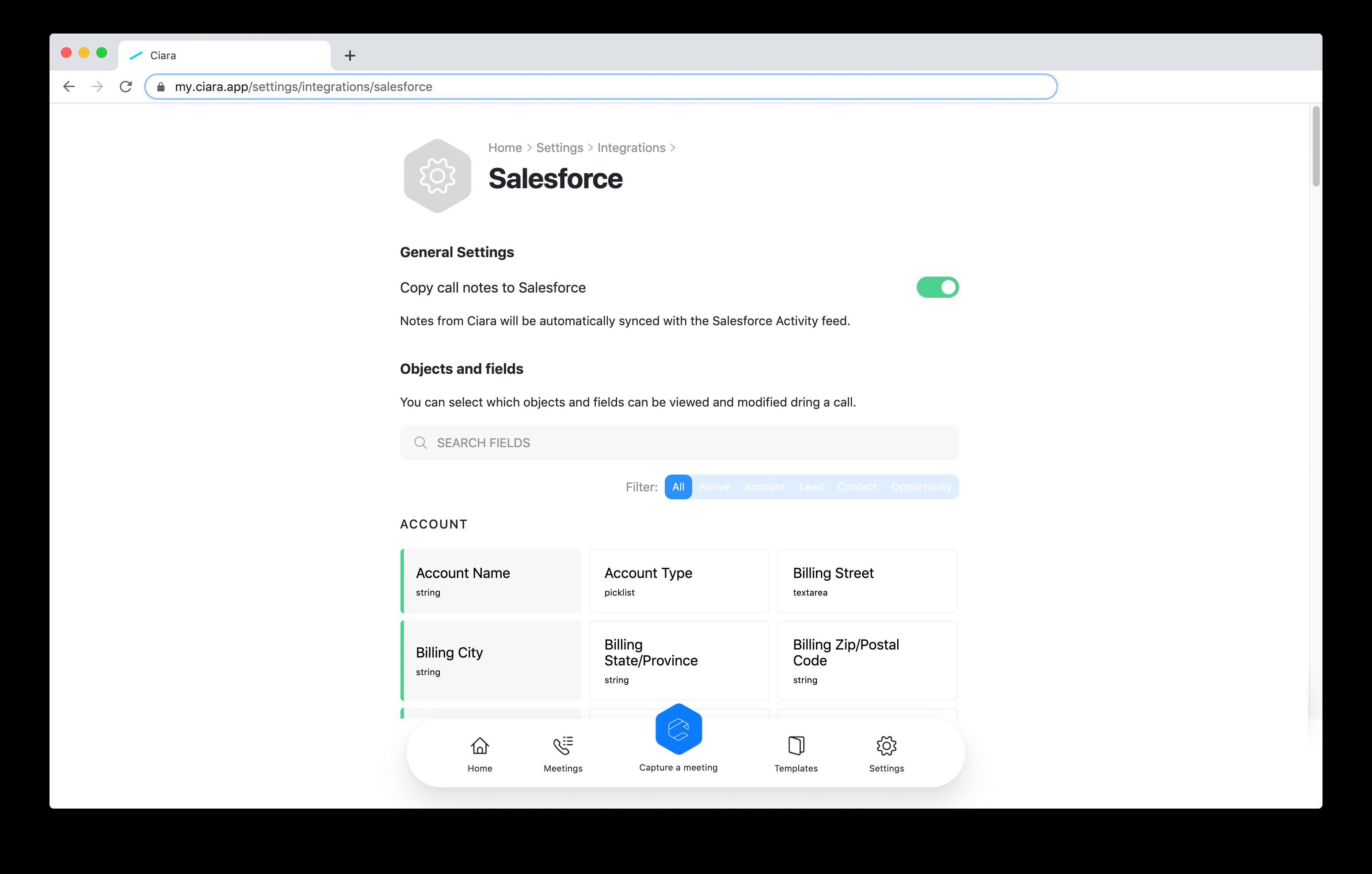 Ciara integrations - Manage Salesforce