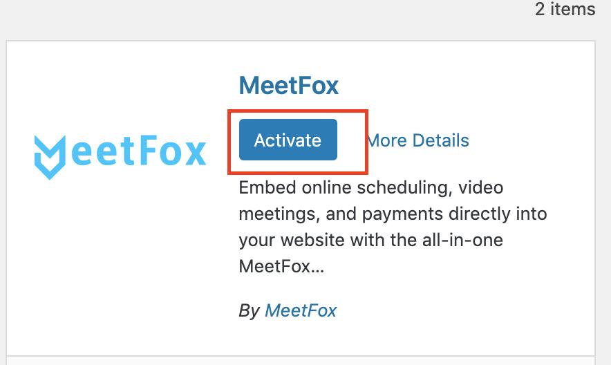 Activate MeetFox widget on WordPress