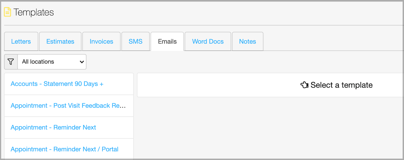 Dentally Email template selection all locations