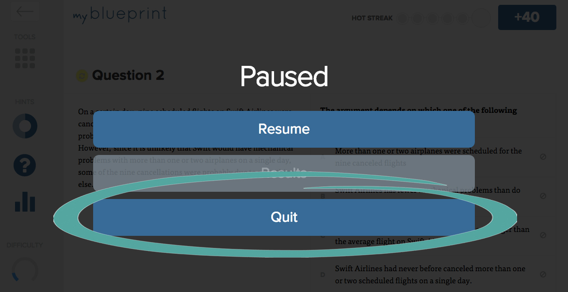 Do i have to complete homework in one sitting blueprint lsat help this will pause the homework click quit to exit the homework set malvernweather Gallery