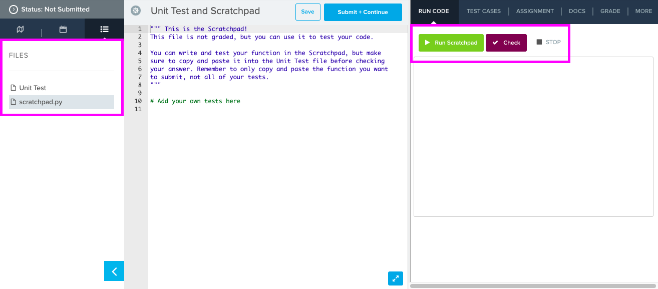 Image highlighting scratchpad and Unit Test files and options to Run Scratchpad and check code