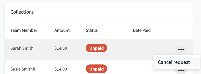 Screenshot of button to click to cancel a team member's payment request