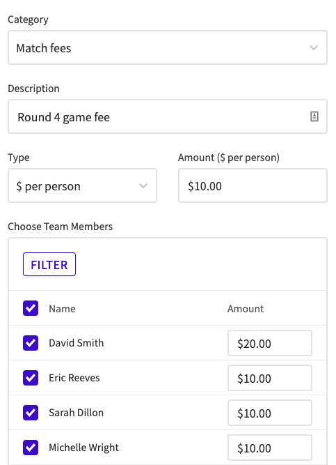 Screenshot of collect payment form where you can request custom amounts from team members