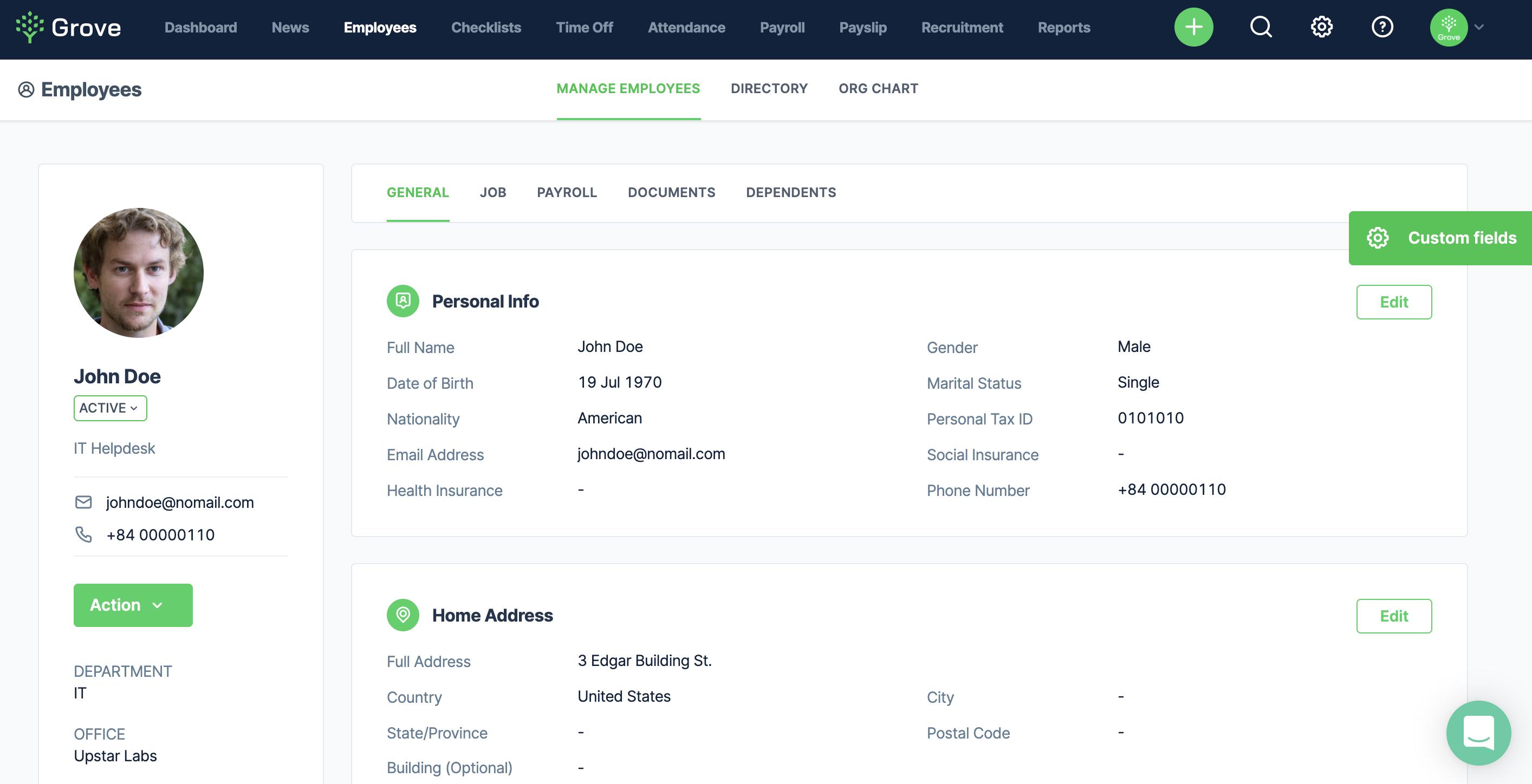 Add Custom Fields in Employee profile
