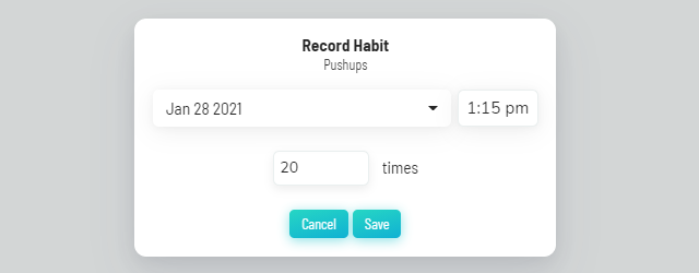 Recording a habit using Ask Me option