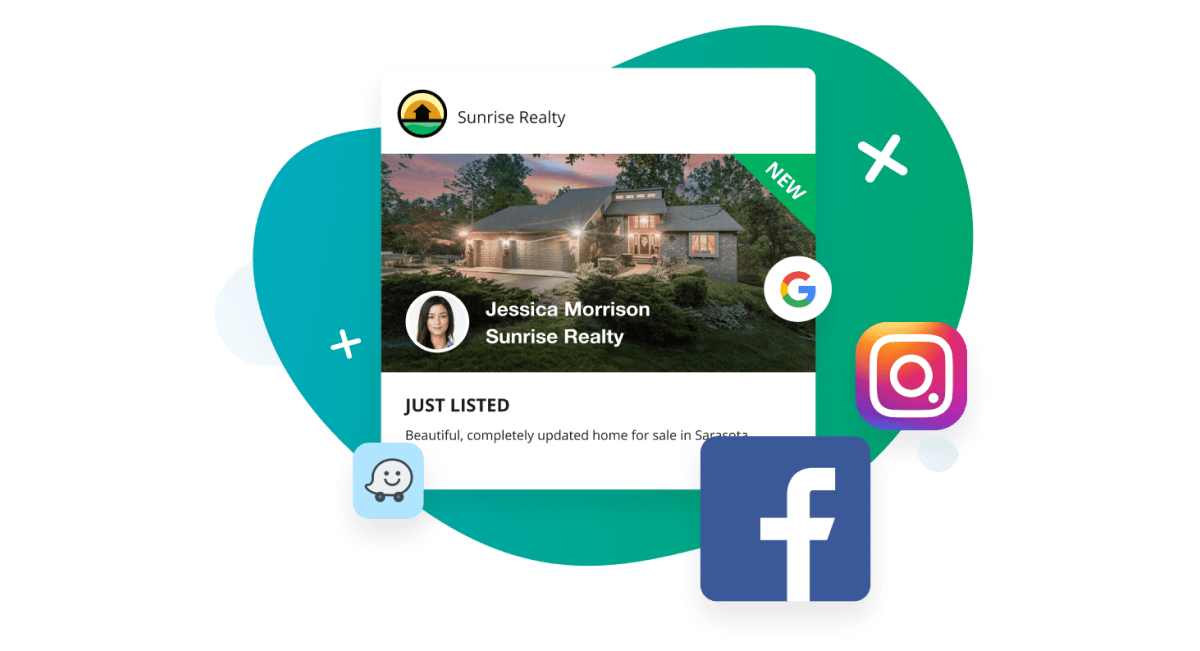Just listed ad with social media logos