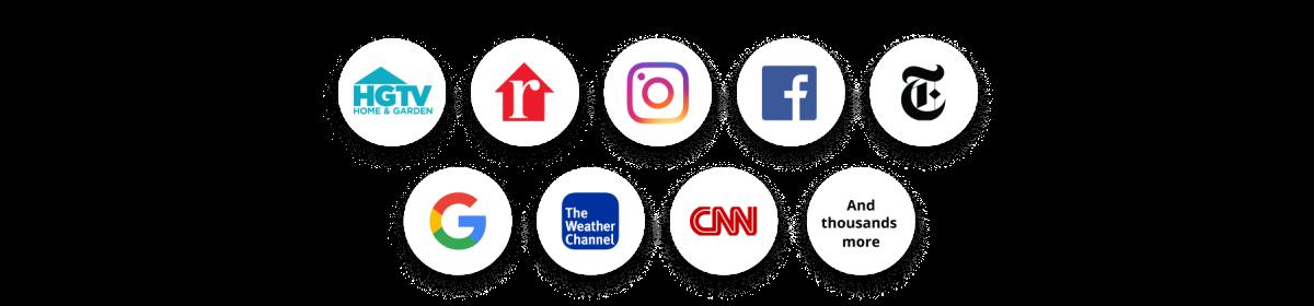 Social media and major website logos