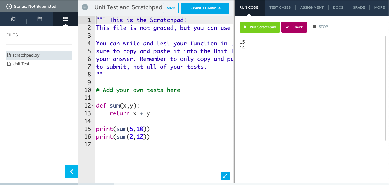 Image of code in scratchpad file being run