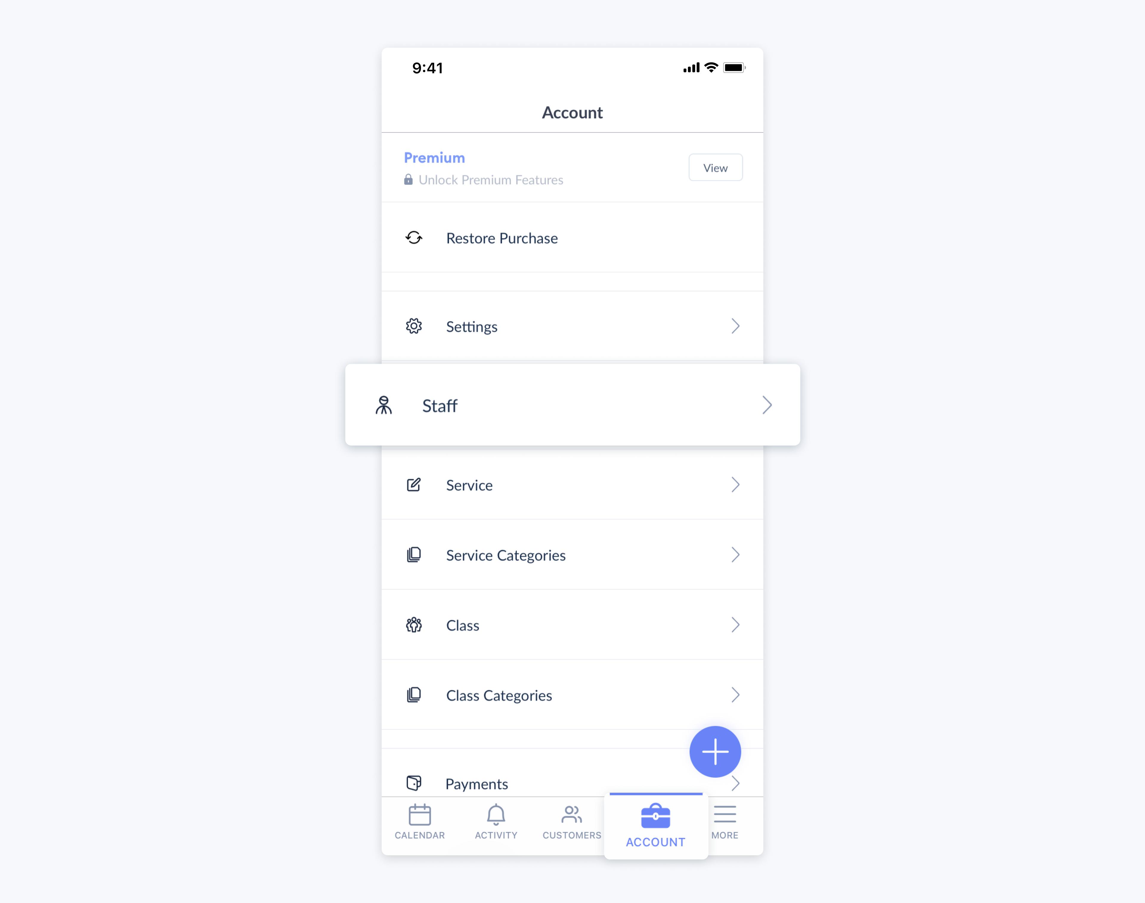 setmore mobile app staff settings
