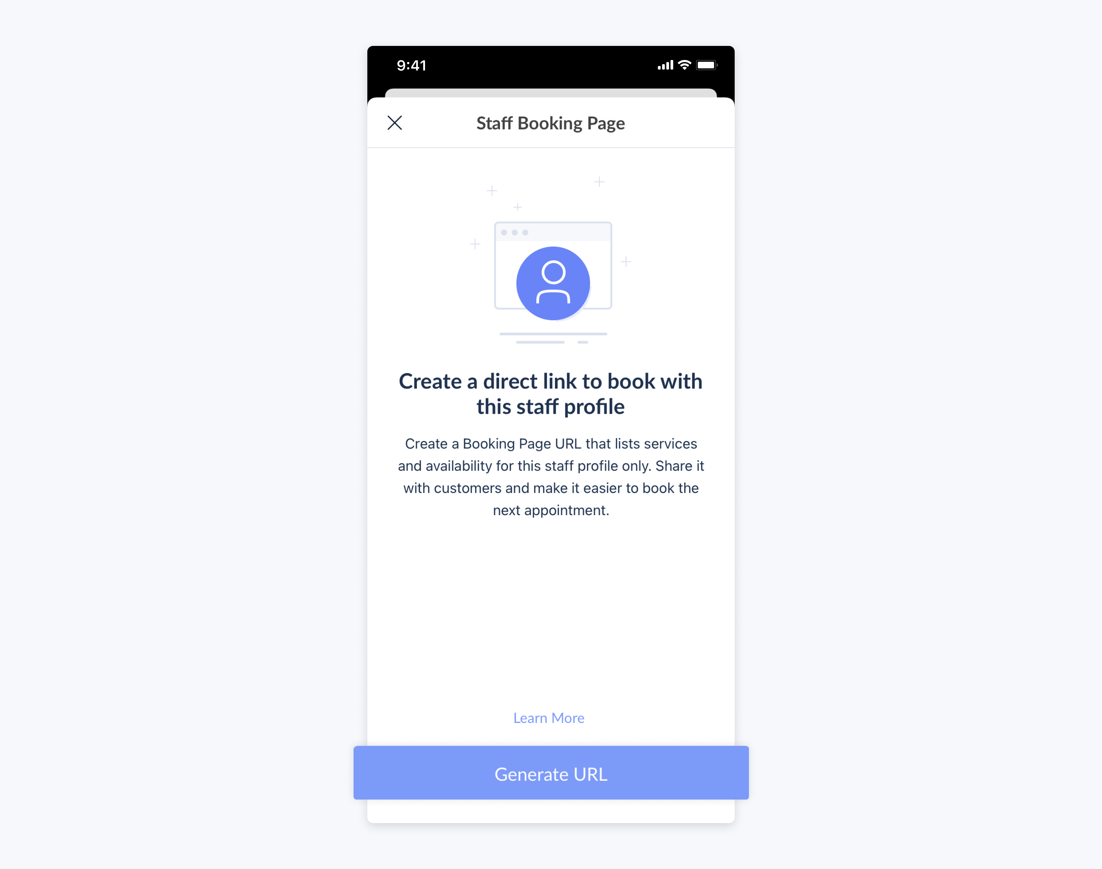 setmore mobile app create booking page url