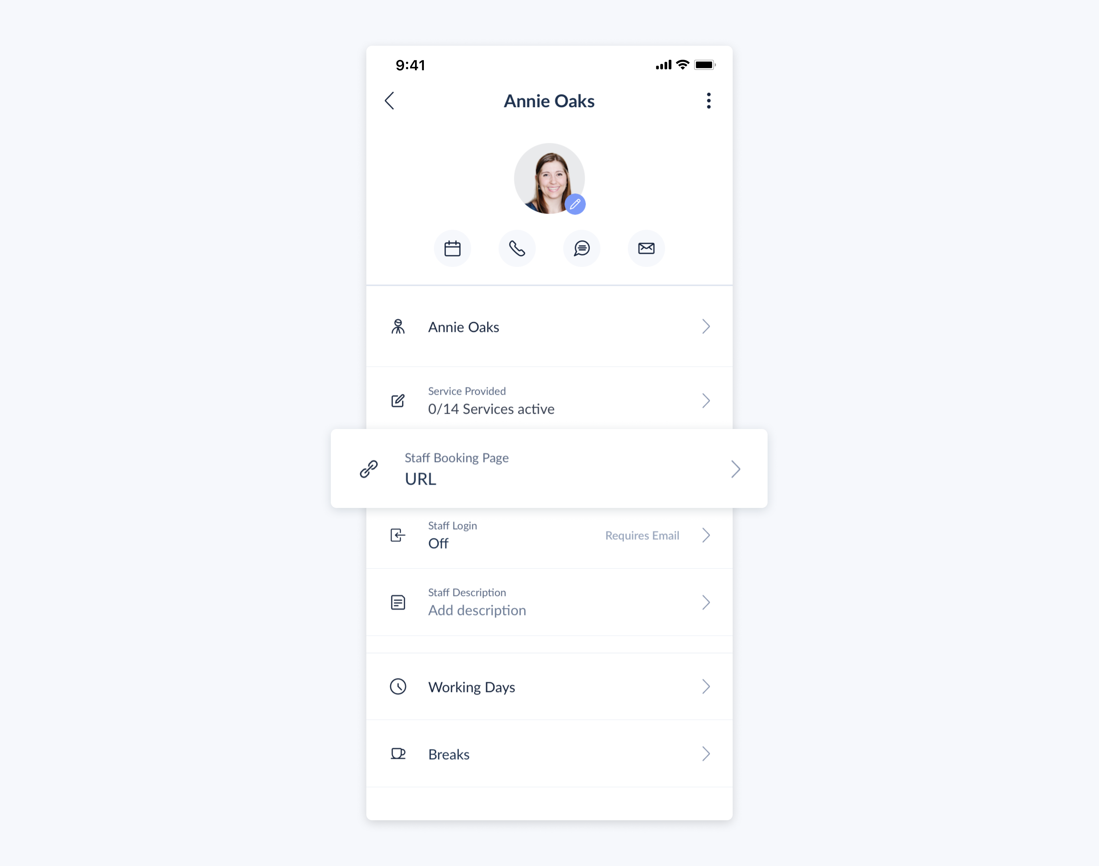 setmore mobile app staff profile