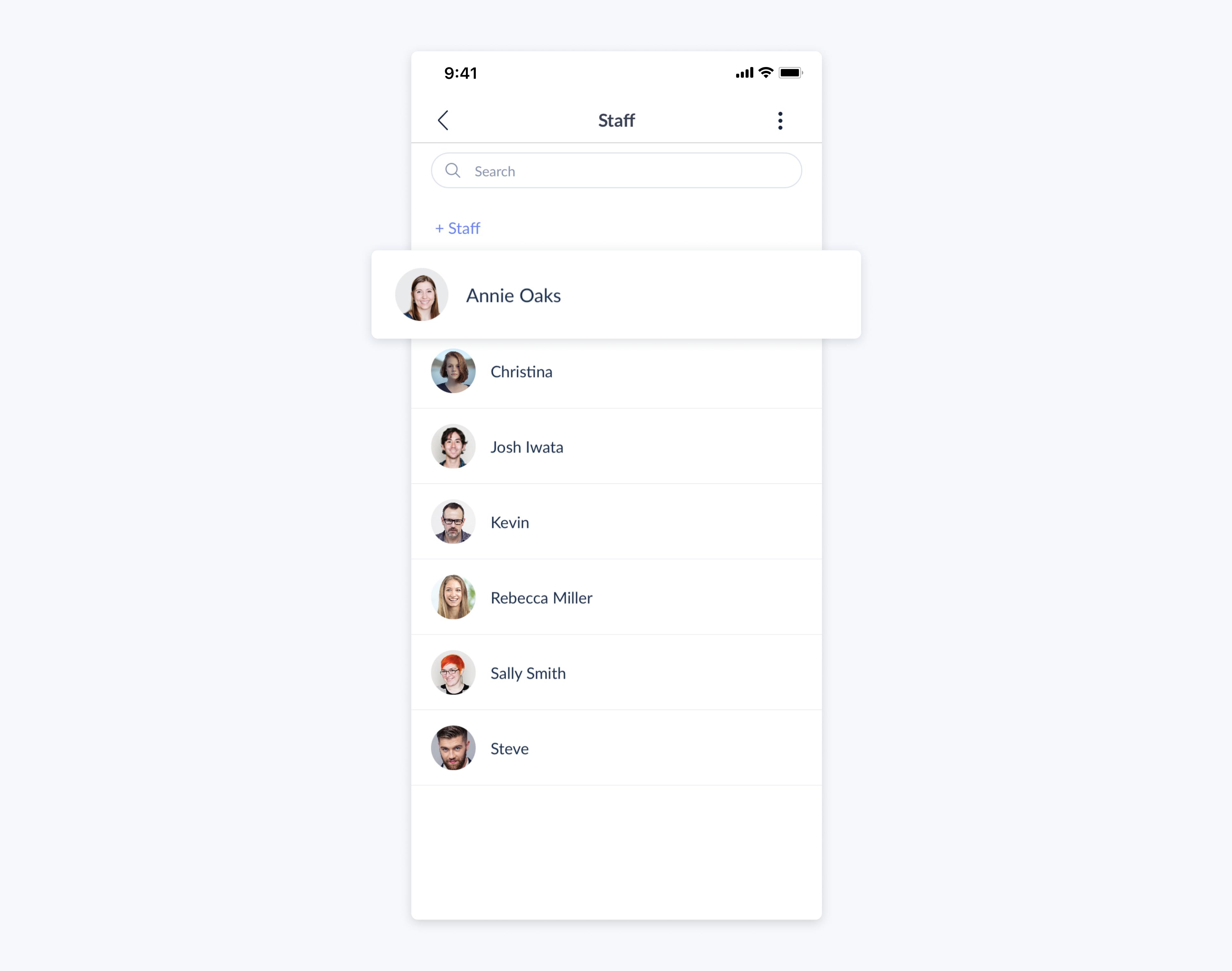 setmore mobile app staff profiles
