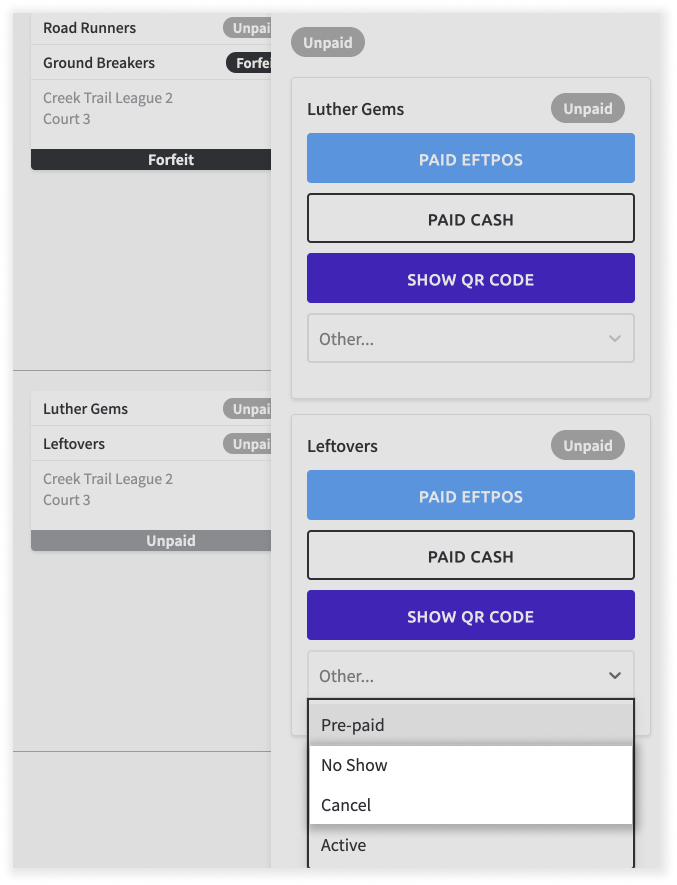 Screenshot of payment dashboard, with a match card selected