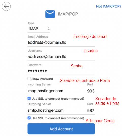configuração do email no Outllok com servidores de entrada e saída